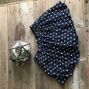 Navy Blue Polka Dot Skort with Pockets